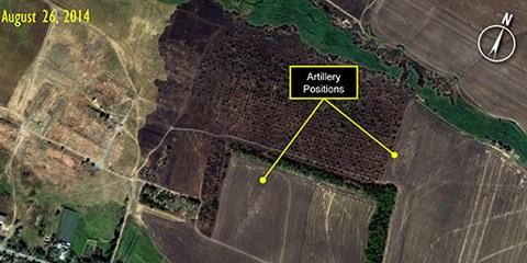 Les images recueillies par Amnesty prouvent que l'artillerie russe a établi de nouvelles positions à l'intérieur de l'Ukraine. © Digital Globe for Amnesty International