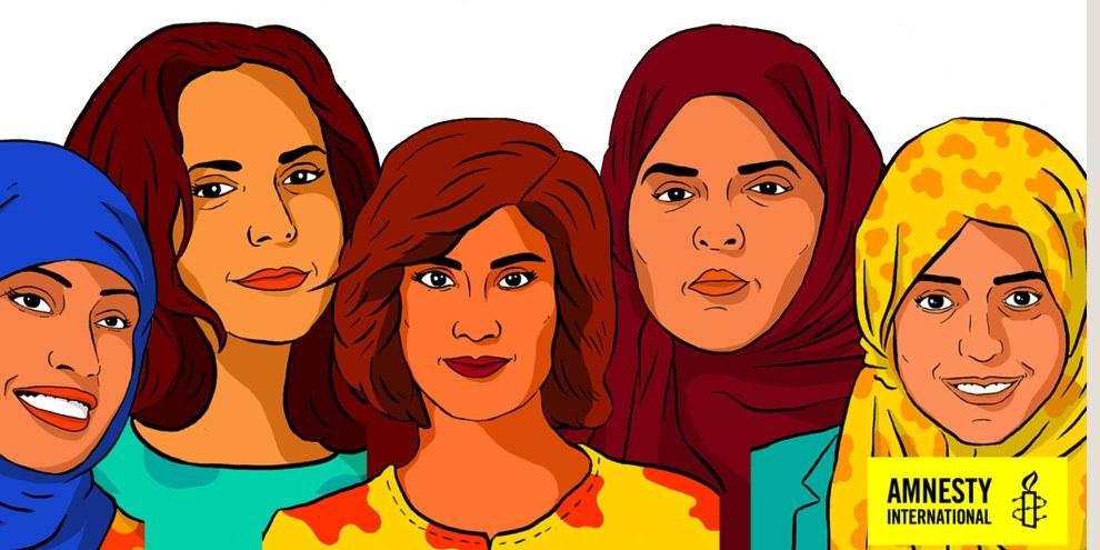 Loujain al-Hathloul, Iman al-Nafjan, Aziza al-Youssef, Samar Badawi et Nassima al-Sada ont fait campagne pour les droits des femmes à conduire et contre le système de tutelle en Arabie saoudite. © Amnesty International