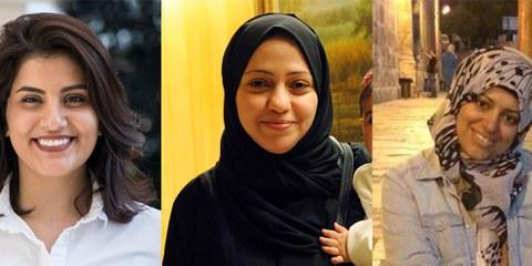 De gauche à droite: Loujain al-Hathloul, Samar Badawi et Nassima al-Sada © Privé
