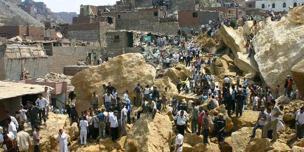 Le bidonville de Manshiyet Nasser détruit par un éboulement © AP/PA Photo