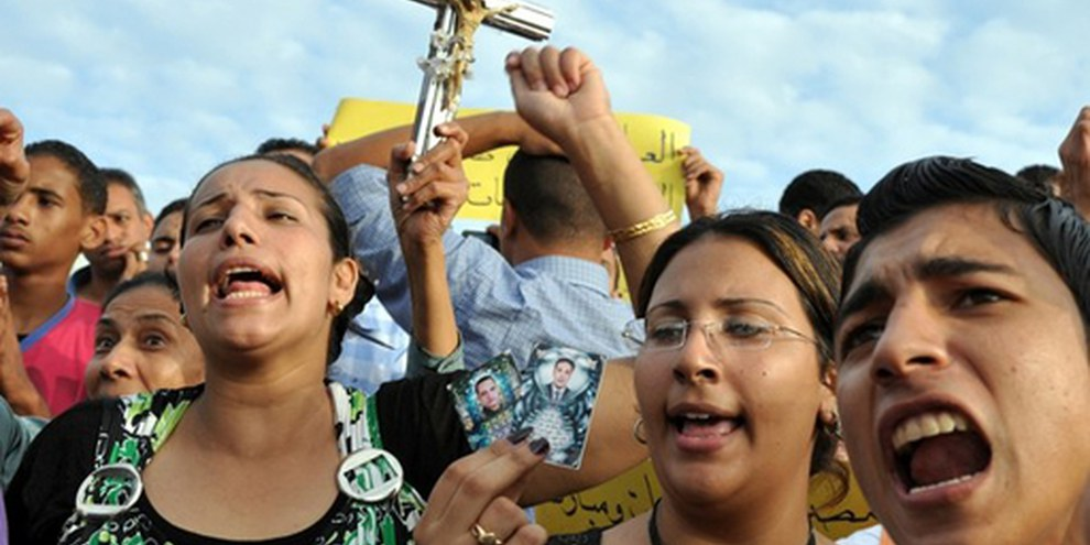 Des coptes protestent contre la répression sanglante à Maspero. © Ahmed Tarek/Demotix