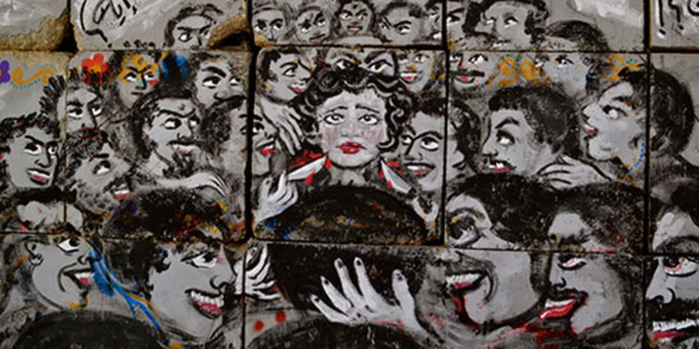 Plus de 99 % des femmes en Egypte subissent des harcèlements sexuels. © Melody Patry / Index on Censorship (mural by El Zeft and Mira Shihadeh)