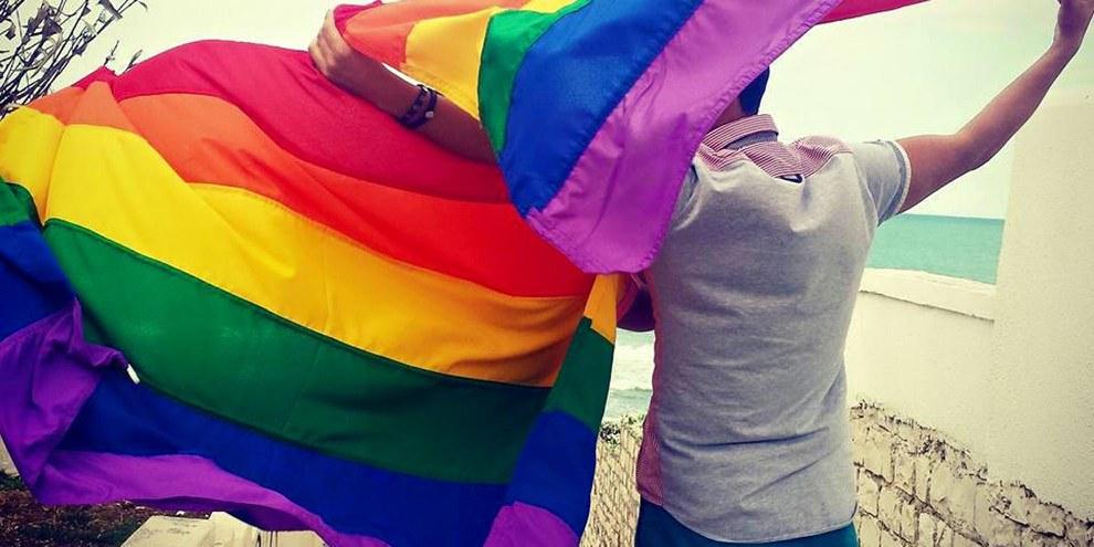 Le drapeau arc-en-ciel est un symbole pour les personnes LGBTI partout dans le monde (ici en Tunisie). Au Caire, des personnes l'ont brandi durant un concert le 23 septembre 2017. Depuis, une vague de répression s'abat sur les LGBTI en Égypte. © Shams