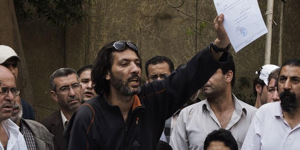 Des réfugiés palestiniens de Syrie ont déjà tenté de revendiquer leurs droits en 2013 au Caire. © GIANLUIGI GUERCIA/AFP/Getty Images