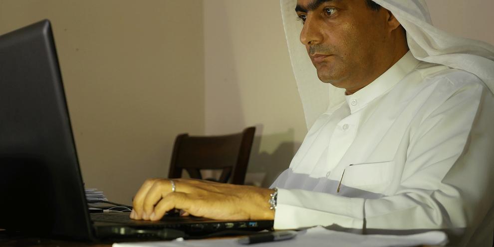 Ahmed Mansoor vient d'être récompensé par le prix Martin Ennals, pour son travail de défense des droits humains aux Émirats arabes unis. © Martin Ennals Foundation.