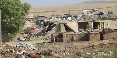 Quasiment toutes les maisons ayant été détruites ou endommagées de façon irréparable à Barzanke dans le Kurdistan irakien. © Amnesty International