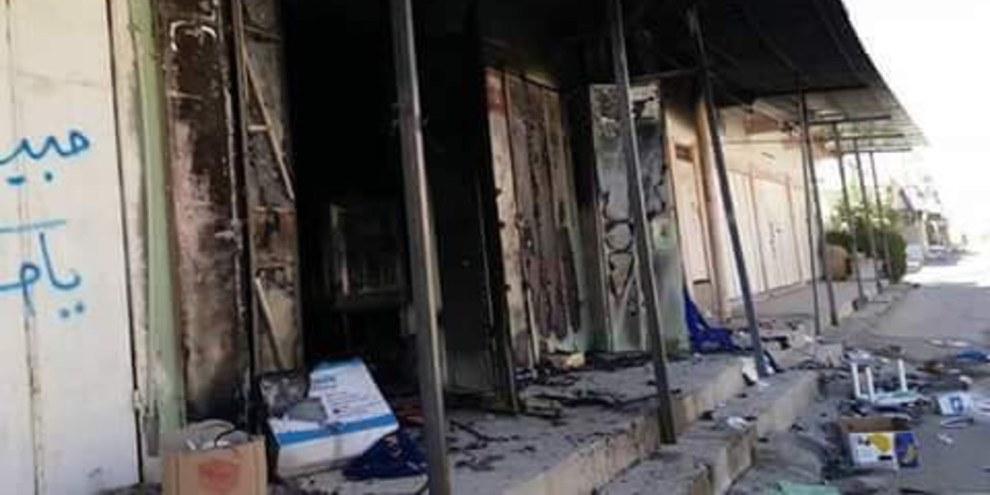 Des chercheurs d'Amnesty International ont photographié des bâtiments incendiés dans le marché de Al-Jumhuriya, dans la ville de Tuz Khurmatu, le 18 octobre 2017. © Amnesty International