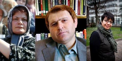 Mahboubeh Abbasgholizadeh, cinéaste, Javid Houtan Kiyan, avocat de personnes condamnées à la lapidation et Shadi Sadr, avocate et journaliste © www.kosof.com, DR, Jorn van Ecker /AI respectivement