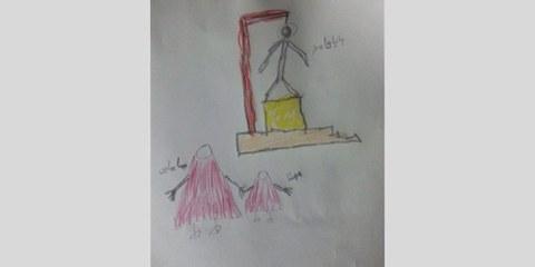 Dessin de Mohanna Ahmadi, la fille du prisonnier sunnite Hamed Ahmadi, qui a été exécuté le 4 mars 2015 avec cinq autres hommes.  ©Private