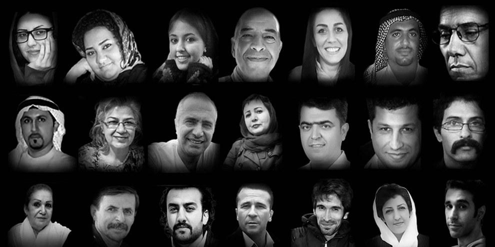 Les portraits des défenseurs des droits humains mentionnés dans le rapport «Caught in a web of repression: Iran's human rights defenders under attack» © Amnesty International