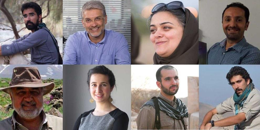 Ces huit défenseurs de la conservation de la faune sauvage en Iran ont été accusés d'espionnage après avoir utilisé des caméras pour suivre les espèces menacées d'extinction. © Amnesty International