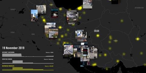 Carte des manifestations en Iran. ©Amnesty International