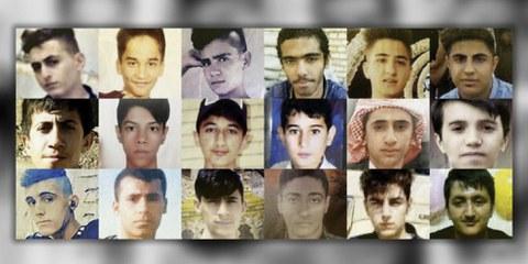 Collage de photographies de certains des mineurs tués par les forces de sécurité iraniennes lors des manifestations de novembre 2019. © AI