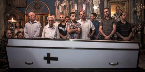 Funérailles chrétiennes à Gaza. EPA© OLIVER WEIKEN / EPA