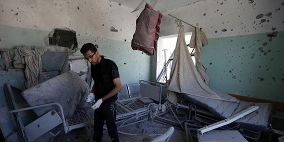 Les tirs israéliens qui ont frappé le troisième étage de l'hôpital Al Aqsa, à Deir al Balah, ont tué quatre personnes et blessé plusieurs dizaines d'autres. © AFP/Getty Images