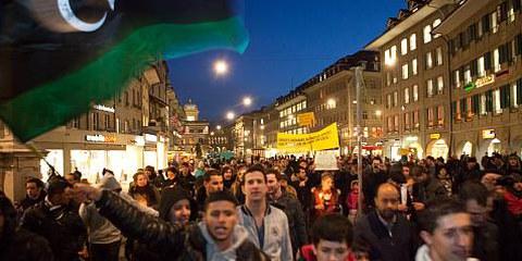 Manifestation contre le bain de sang en Libye, février 2011, Berne. © Reto Andreoli