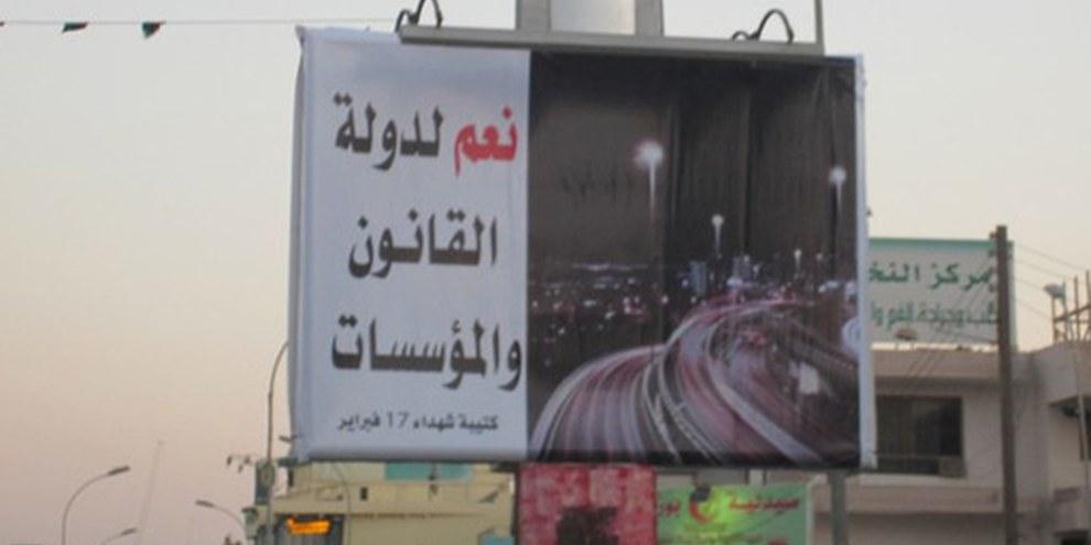 Poster à Benghazi: «Oui à un pays de lois et d'institutions». © AI