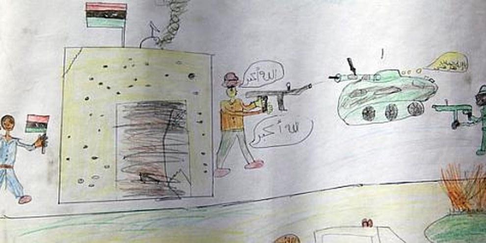 Dessin d'un enfant de Misratah. © UNHCR / H. Caux