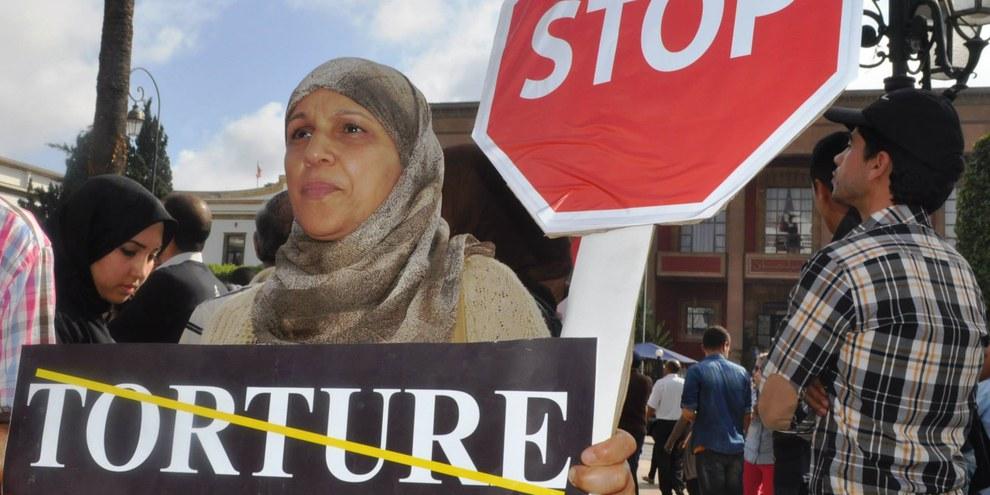 Action contre la torture organisée par AI Maroc, avril 2015 © AI