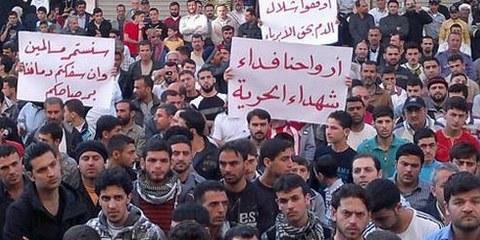 Le président el Assad s'abstient une nouvelle fois de répondre aux demandes légitimes de personnes qui ont risqué leur vie pour se faire entendre. © Jasmine Syria/Demotix