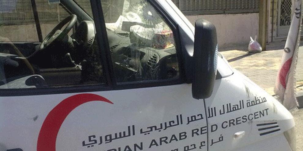 L'ambulance du Croissant-Rouge a été prise pour cible le 7 septembre 2011. © DR