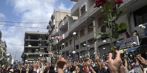 La région de Daraya a été le siège de nombreuses manifestations durant toute une année de révolte. © Third Party