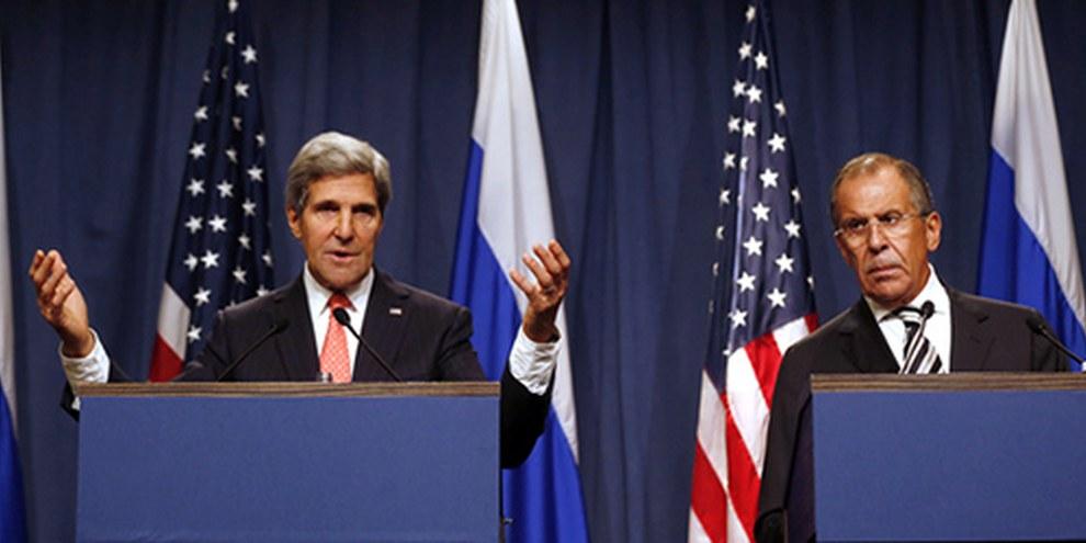 John Kerry, Secrétaire d'État américain, s'est exprimé lors de la conférence de presse. © LARRY DOWNING/AFP/Getty Images