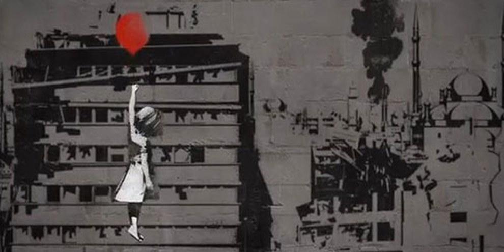 Banksy remanie l'image de sa «fille avec un ballon rouge» dans une vidéo afin de soutenir la Syrie.