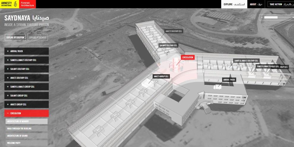 Amnesty a collaboré avec des spécialistes de Forensic Architecture pour créer une reconstruction 3D virtuelle de la prison de Saidnaya.
