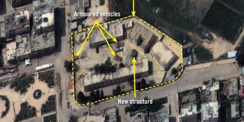 Image satellite de l'école Amir Ghabari à Afrin, utilisée comme base par les troupes turques . © 2018 Digital Globe, Inc.