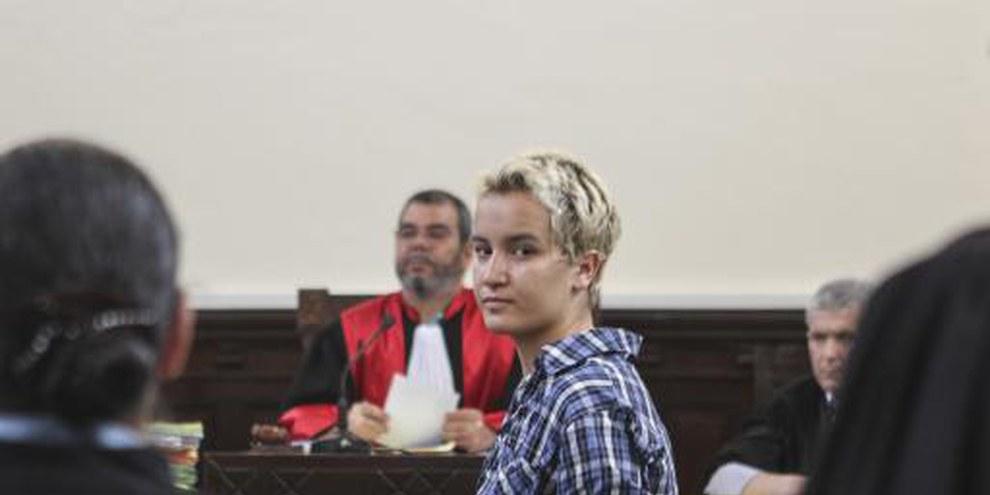 Amina Sboui dans la salle de la cour à Sousse © REUTERSMed Amine Benaziza