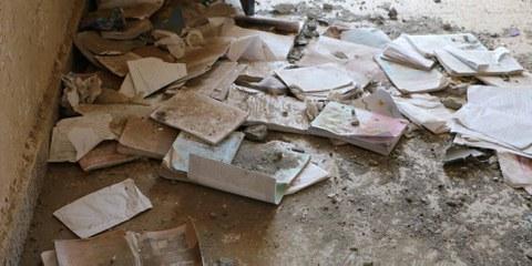 L'école de al-Shaymeh après une attaque de la coalition menée par l'Arabie saoudite. Le 9 novembre 2015. © Amnesty International