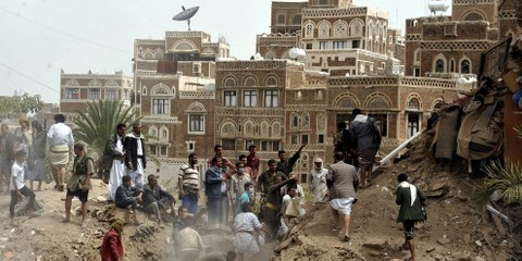 La campagne de frappes aériennes déclenchée par la coalition il y a un an continue de dévaster la vie de familles yéménites innocentes. © Mohammed Hamoud/Anadolu Agency/Getty Images