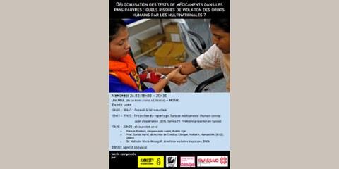 Film-Discussion: Délocalisation des tests de médicaments dans les pays pauvres