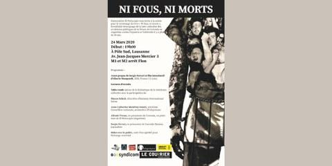 [ÉVÉNEMENT ANNULÉ] Présentation, table-ronde et discussion du livre «Ni fous, ni morts» - Lausanne