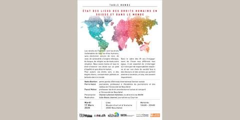 [ÉVÉNEMENT ANNULÉ]  Table ronde: État des lieux des droits humains en Suisse et dans le monde