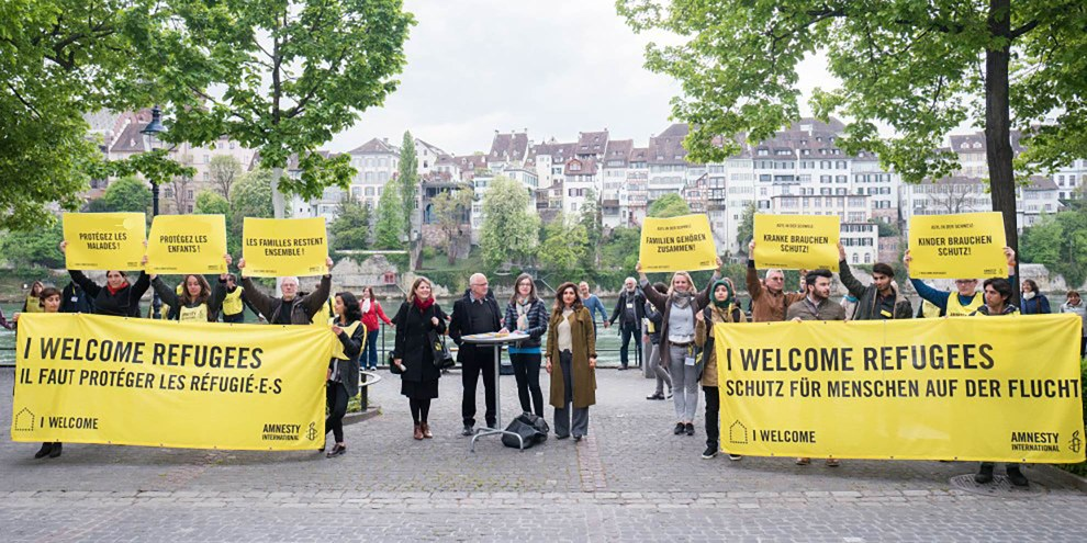 Action pour le lancement de l'appel contre l'application aveugle du règlement Dublin pendant l'AG 2017 d'Amnesty Suisse.© Mario Heller /Amnesty International Suisse