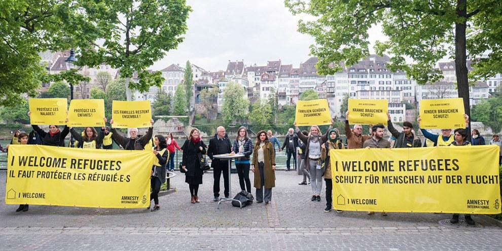 Action pour le lancement de l'appel contre l'application aveugle du règlement Dublin pendant l'AG 2017 d'Amnesty Suisse.© Mario Heller /Amnesty International Suisse