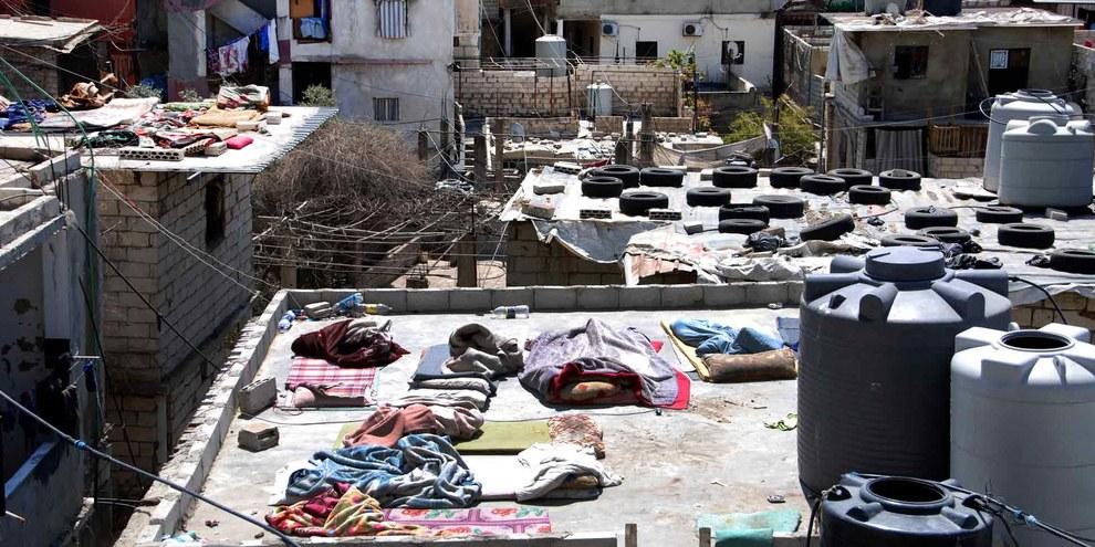 Le camp de refugiés palestiniens de Shatila, à Beyrouth, où bon nombre de refugiés syriens ont trouvé refuge depuis leur fuite. © Amnesty International