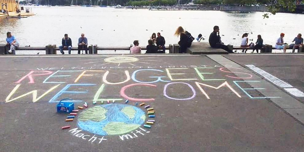 Action d'Amnesty YOUTH lors de la Journée mondiale des réfugiés à Zurich.  © Amnesty International