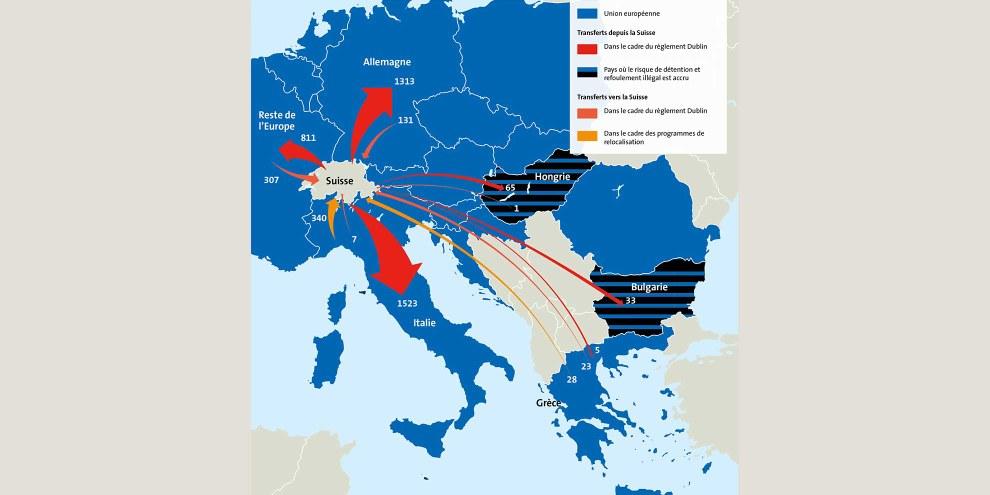 La carte montre combien de réfugiés la Suisse a renvoyés en 2016 vers d'autres pays européens dans le cadre du règlement Dublin, et combien elle en a accueilli en provenance de ces mêmes pays. © muellerluetolf.ch, Source: Secrétariat d'État aux migrations (SEM).  En collaboration avec Vivre Ensemble.