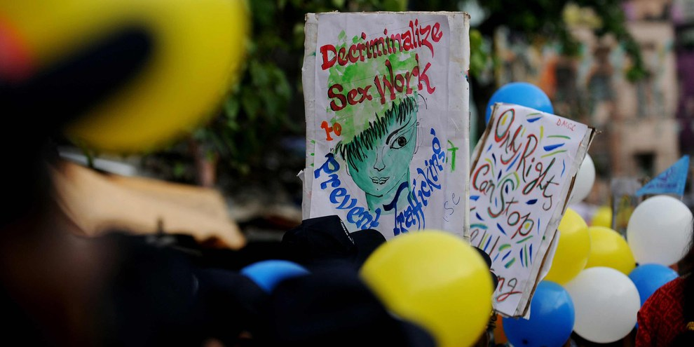 Festival pour la liberté des travailleuses et travailleurs du sexe à Kolkata en Inde. © AFP/Getty Images