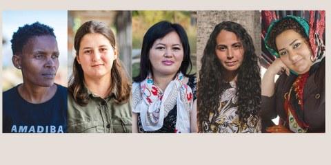De gauche à droite: Nonhle Mbuthuma, Vitalina Koval, Gulzar Duishenova, Geraldine Chacón et Atena Daemi © Amnesty International