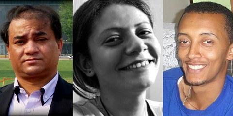L'intellectuel ouïghour Ilham Tohti, la journaliste syrienne Razan Zaitouneh et le collectif Zone 9 (sur cette photo Natnael Feleke) ont été sélectionnés pour leur travail en faveur des droits humains. © Droits réservés