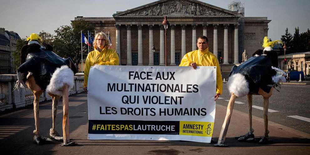 Action d'Amnesty France en 2014. © P-Y Brunaud/Pictutank