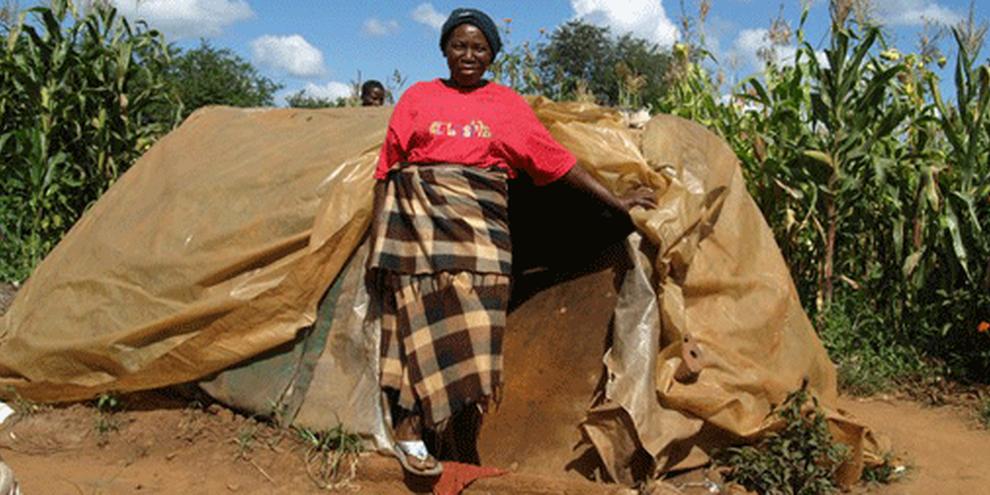 Une femme devant sa maison dans la banlieue d'Harare, Zimbabwe. © AI