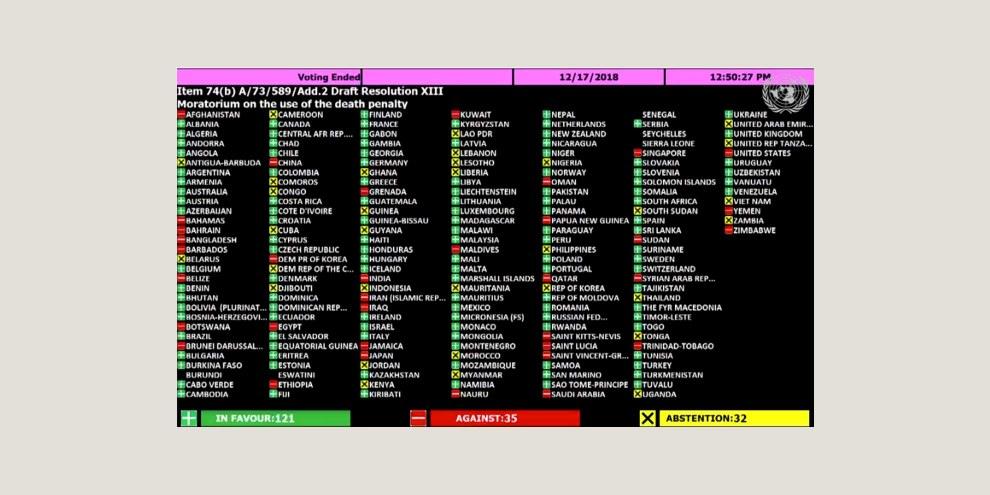 Le résultat du vote à l'Assemblée générale des Nations unies. © droits résérvés.