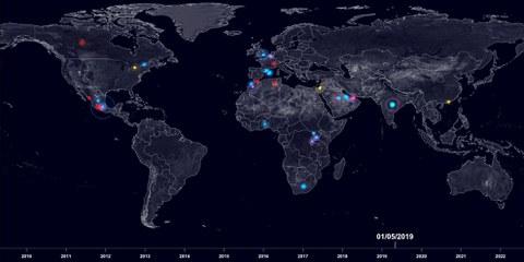 Carte d'ensemble qui répertorie les attaques en ligne et hors ligne contre des défenseur·e·s des droits humains. © Forensic Architecture