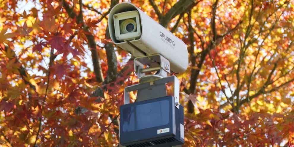 Une caméra de surveillance à la frontière suisse. © Thomas Bresson / Wikicommons