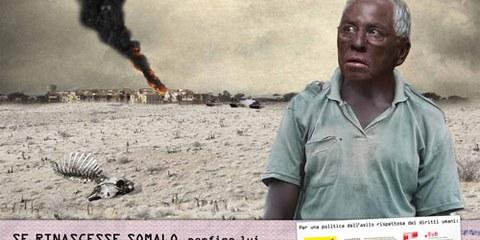 Una delle immagini della campagna «Ora basta» sul diritto d'asilo.